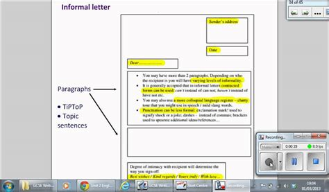 letter layout gcse english informal letter youtube