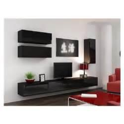 meuble tv design suspendu fino noir achat vente meuble