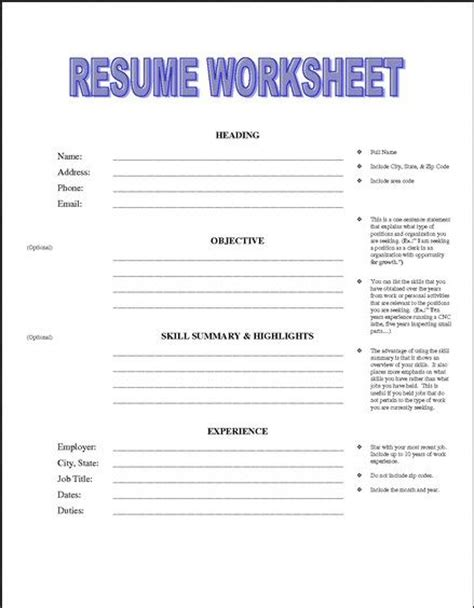 Resume Tips Worksheet Printable Resume Worksheet Free Http Jobresumesle 1992 Printable Resume Worksheet