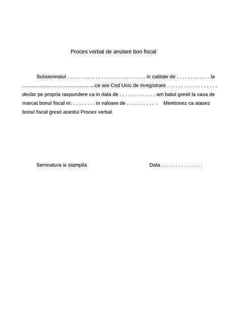 html quick form tutorial proces verbal de anulare bon fiscal pentru inregistrarea