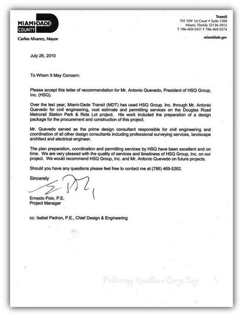 Recommendation Letter For Employee Engineer Florida Consulting Firm Hsq Inc Engineering Services Government Consulting Services