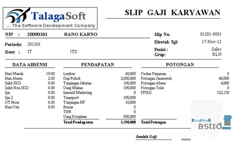 contoh slip gaji karyawan outsourcing download software gaji gratis mixeasian