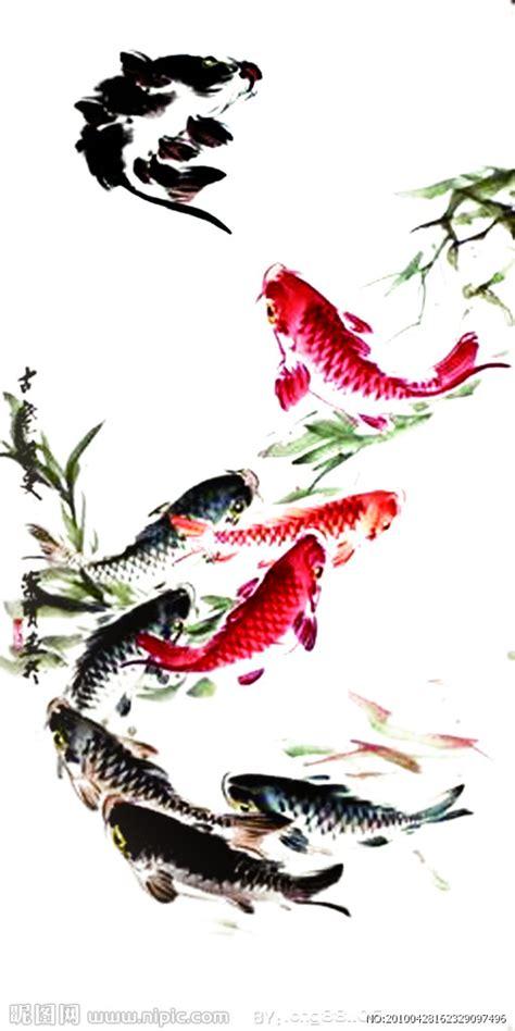 水墨画鱼设计图 绘画书法 文化艺术 设计图库 昵图网nipic com