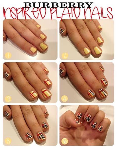 tutorial nail art burberry diy burberry nails diy nails art diy nails art pinterest