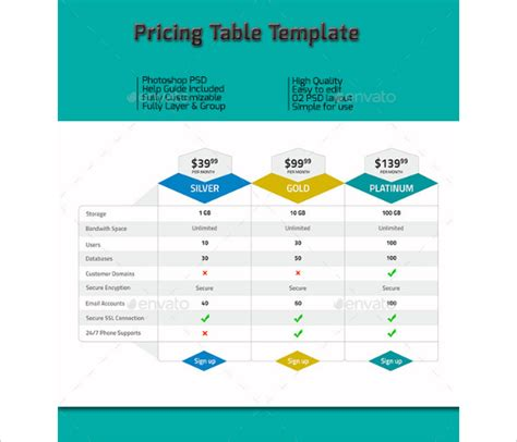 25 price table templates free premium download