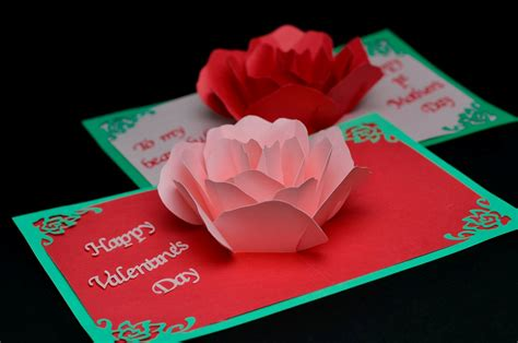 Valentine Gift Card - rose flower pop up card tutorial creative pop up cards