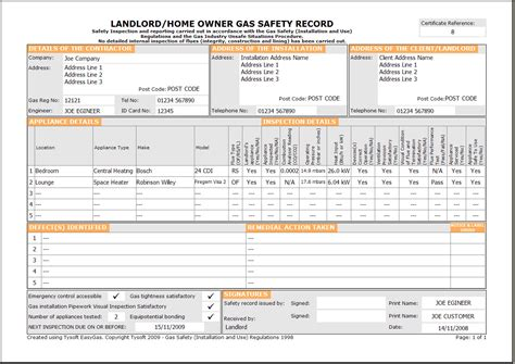 Easygas Certification Software Electrical Safety Certificate Template