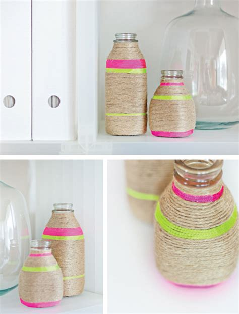 diy neon string wrapped vases in crafts for decorating and