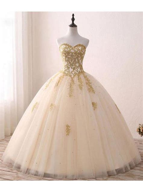 ball gown and prom dresses ball gown sweetheart gold lace appliques long prom dresses