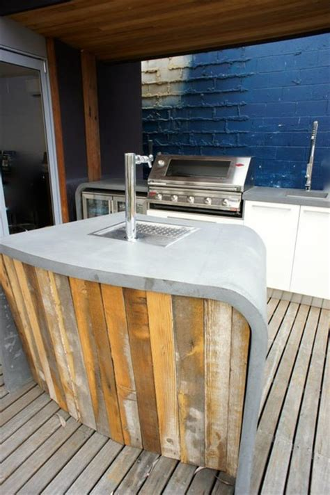 outdoor bar outdoor kitchen with polished concrete - Outdoor Kitchen Benchtops