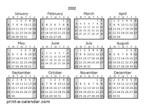 August 2002 Calendar 2002 Printable Calendars