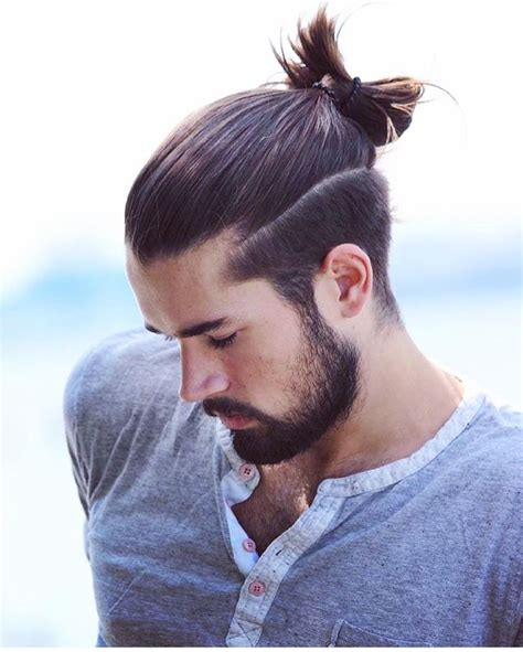 hair cuts men long hair shaved side bun best 25 man bun and beard ideas on pinterest