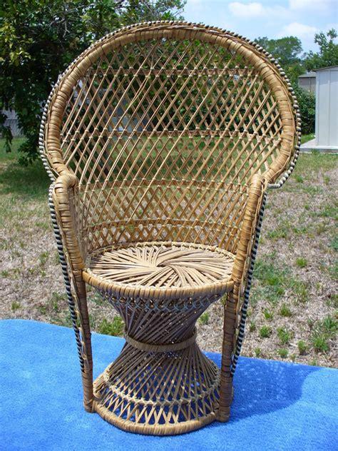 vnt wicker woven high fan back peacock chair doll bears
