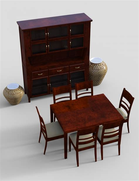 furniture set 4 typical dining furnitures 3d models and