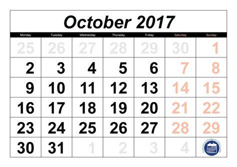 Calendar October 2017 Pdf 2017 Calendar October Printable 2017 Calendar