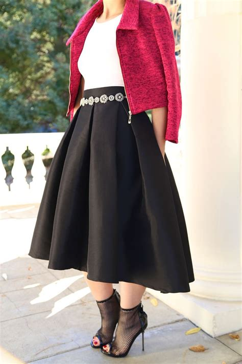 ktrcollection black midi skirt with high low hemline 183 s