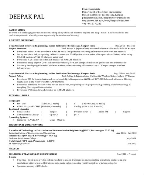 Resume Sles For Engineering Students 20 Free Resumes Free Sle Exle Format Free Premium Templates
