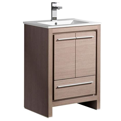 sinkless bathroom vanity fresca allier 24 in bath vanity in gray oak with ceramic