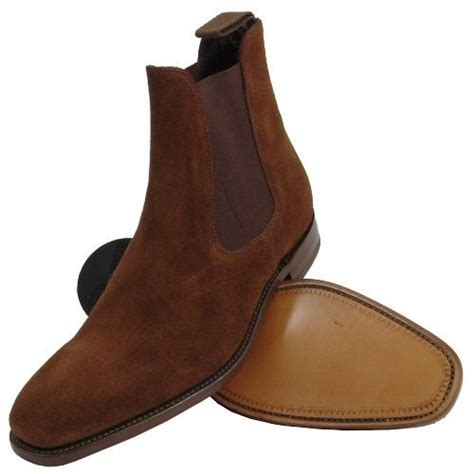 handmade chelsea suede leather boot mens brown