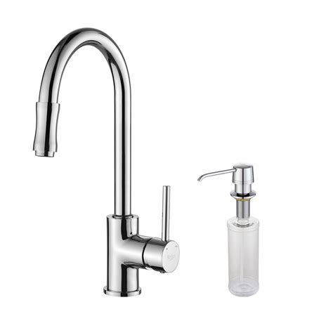 kraus single handle pull kitchen faucet set with