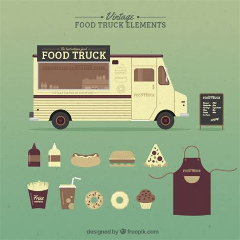 food and accessories vintage food truck and accessories vector free