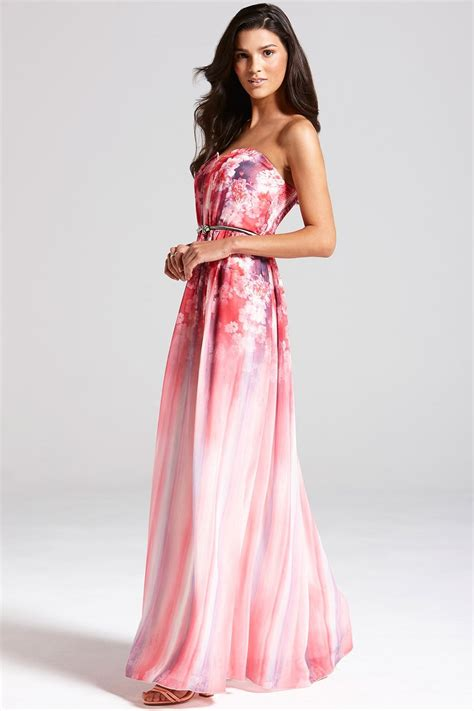 Dress W Hat Pink 25 pink floral bandeau maxi dress from uk