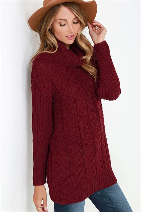 Jaketsweaterhoodie Boho Sweater Maroon Colour Wanita burgundy sweater cable knit sweater turtleneck sweater 69 00