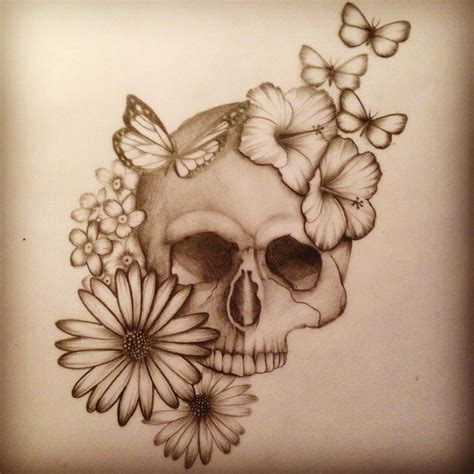 flowers and skull tattoo design