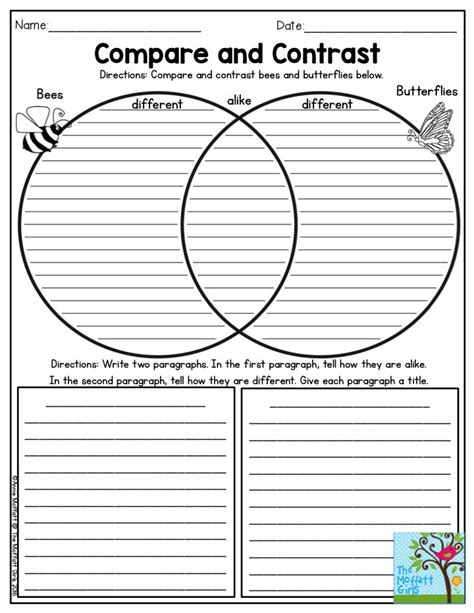 biography compare and contrast worksheet download compare and contrast bees and butterflies such a fun