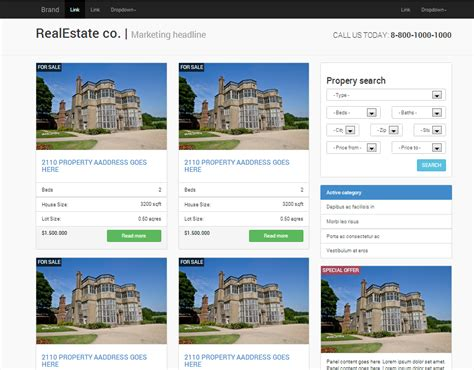 templates bootstrap real estate real estate responsive bootstrap website templates on