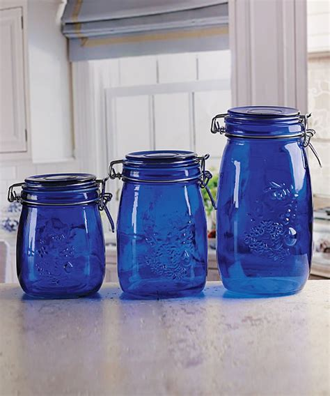 blue kitchen canister blue embossed fruit vintage kitchen canister set of