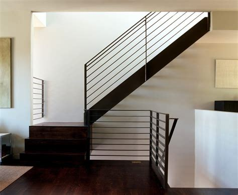 image result for wood handrail on flat bar railing stair