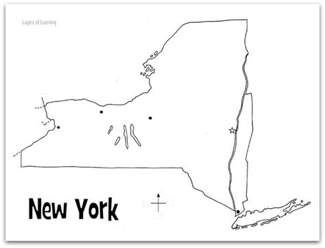 printable map new york state new york state study layers of learning