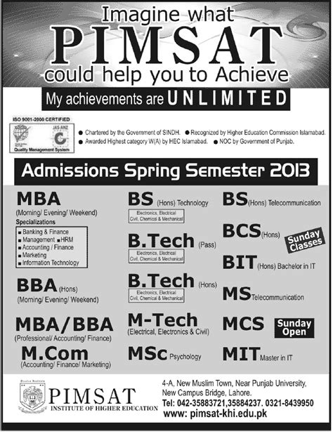 Mba Honours Meaning by Admission Semester 2013 In Pimsat Canadian