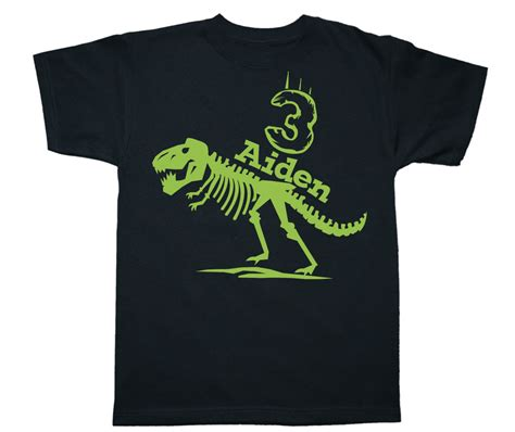 t rex skeleton dinosaur birthday shirt any age and name