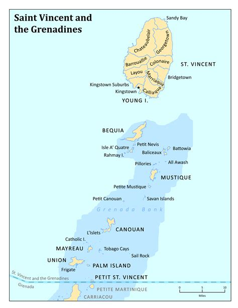st vincent grenadines map geography of vincent and the grenadines