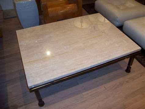 A Jansen Bronze and Travertine marble coffee table at 1stdibs