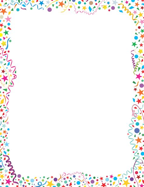 Printable Confetti Border Free Gif Jpg Pdf And Png Downloads At Http Pageborders Org Free Printable Birthday Borders And Frames