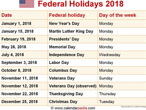 2018 calendar with federal holidays search results