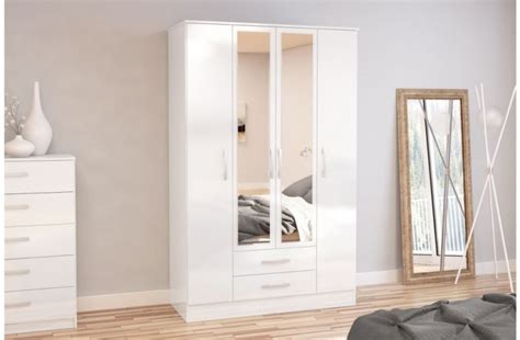 White Wardrobe With Drawers And Mirror Birlea Lynx White With White Gloss 4 Door 2 Drawer
