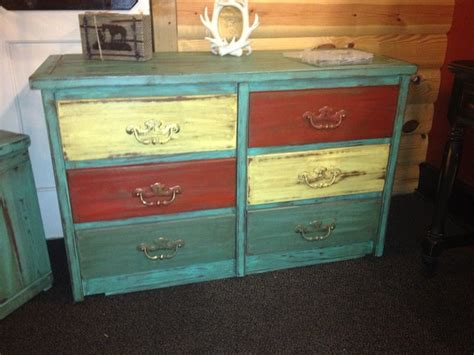 Multi Colored Dresser by 6 Drawer Dresser Beautifully Distressed Multi Colored