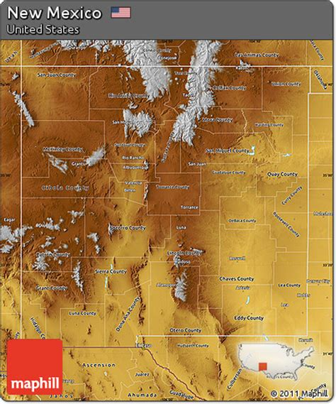 united states map new mexico free physical map of new mexico