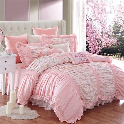 vintage bedding sets luxury ruffled red rose bedding set modern girl princess