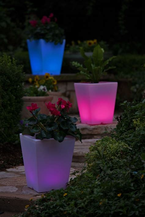 solar illuminated planter small square planter