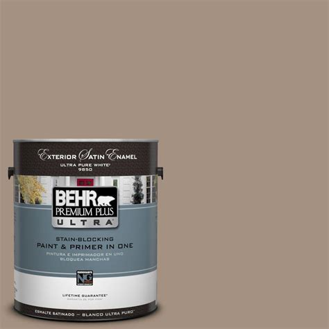 behr premium plus ultra 1 gal ul160 19 earth satin enamel exterior paint 985401 the