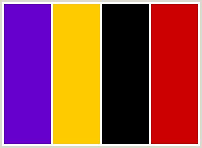 what color goes with yellow and red colorcombo8 with hex colors 6600cc ffcc00 000000 cc0000