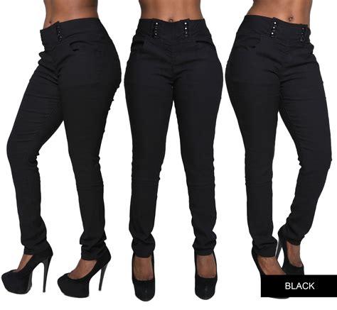 Highwaist One Black Size 27 30 womens high waist plus size trousers stretch slim fit size 12 20 ebay
