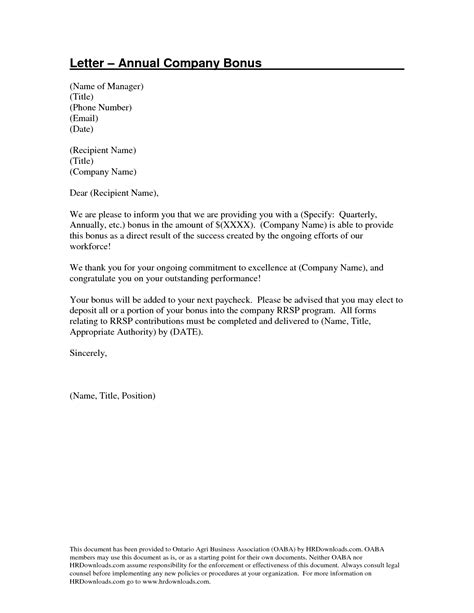 Offer Letter Verbiage Bonus 12 best images of performance letter template employee