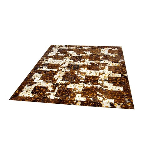 Cowhide Rug On Carpet cowhide tricolore leather carpet rug handmade by furhome kastoria