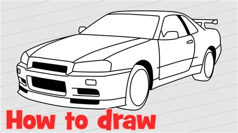 nissan skyline drawing step by step drawing a car nissan skyline gtr r34 youtube